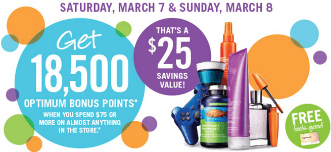 Shoppers Drug Mart Canada Deals Shoppers Drug Mart Canada Deals: 18,500 Optimum Bonus Points when You Spend $75 Or More on Anything, On March 7 8, 2015