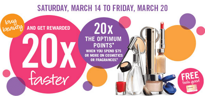 Shoppers Drug Mart Deals Shoppers Drug Mart Canada Beauty Offers: Get 20x the Optimum Points when You Spend $75 or more on Cosmetics, Skin Care & Fragrance!
