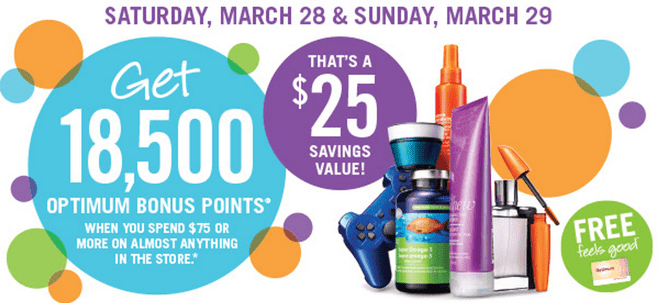 Shoppers Drug Mart Deals1 Shoppers Drug Mart Canada Deals: 18,500 Optimum Bonus Points when You Spend $75 on Anything! This Weekend Only!