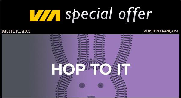 Via rail 2 VIA Rail Canada Special Offers: Discount Tuesdays, March 31, 2015