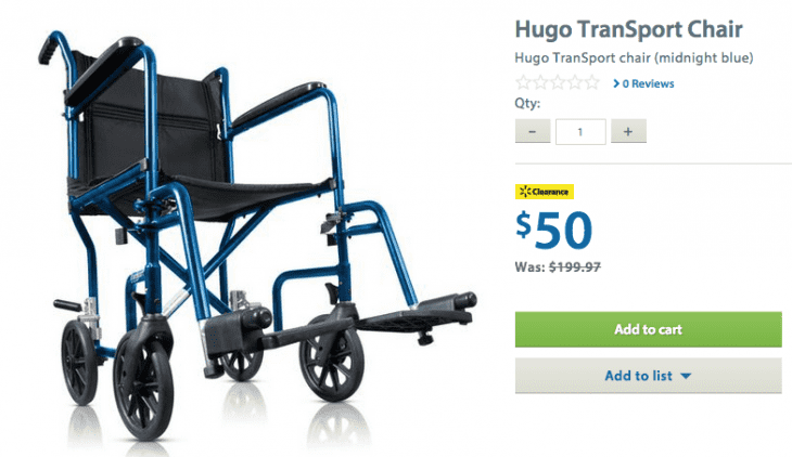 Walmart 1 730x422 Walmart Canada Clearance Offers: Save 75% On Hugo TranSport Chair And Hugo Folding Walker! HOT