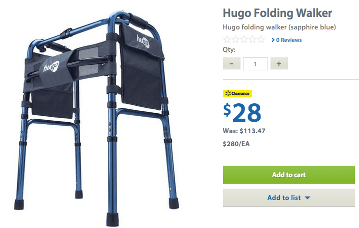 Walmart 21 Walmart Canada Clearance Offers: Save 75% On Hugo TranSport Chair And Hugo Folding Walker! HOT