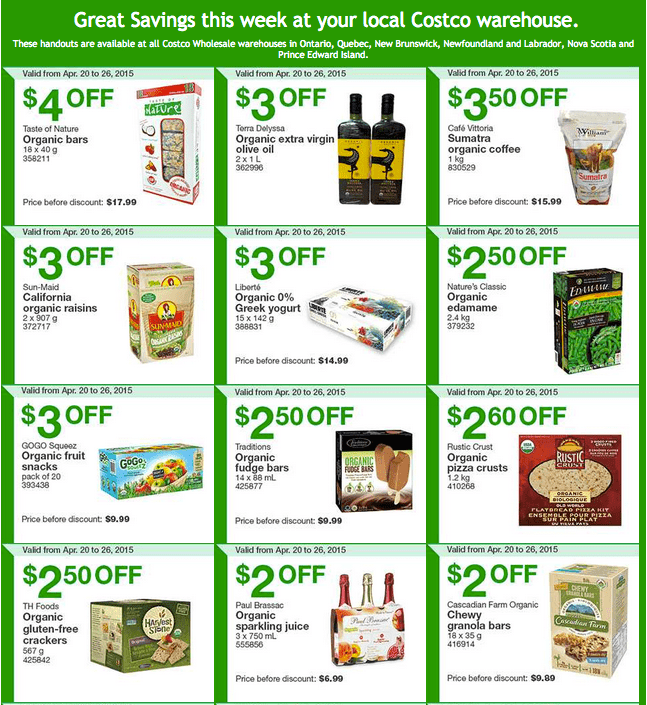 Costco East 1 Costco Canada Handouts Coupons Flyers Instant Savings For Ontario, Quebec & Atlantic Provinces, From Monday, April 20 To Sunday, April 26, 2015