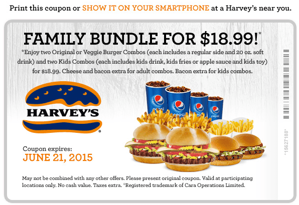 Harvey's Harvey's Canada New Coupon: Get Family Bundle For $18.99