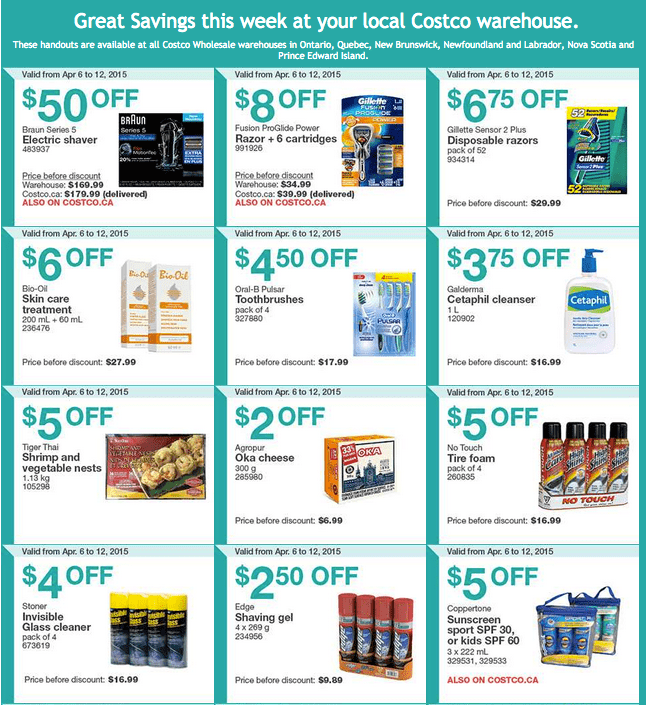 Screen Shot 2015 04 06 at 10.17.50 AM Costco Canada Handouts Coupons Flyers Instant Savings For Ontario, Quebec & Atlantic Provinces, From Monday, April 6 To Sunday, April 12, 2015