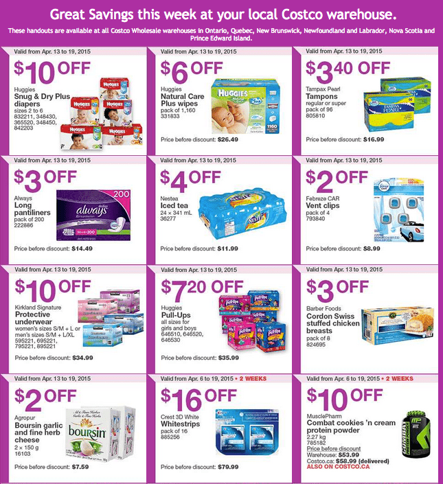 Screen Shot 2015 04 13 at 11.51.47 AM Costco Canada Handouts Coupons Flyers Instant Savings For Ontario, Quebec & Atlantic Provinces, From Monday, April 13 To Sunday, April 19, 2015