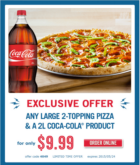 domino s pizza canada offers for get any large 2 topping pizza 2l coca cola product. Black Bedroom Furniture Sets. Home Design Ideas