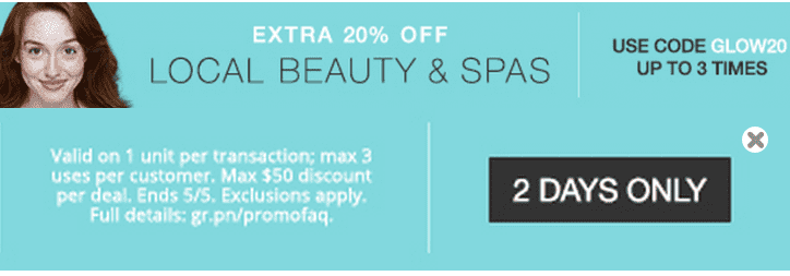 Groupon Groupon Canada Online Promo Code Offers: Save an Extra 20% Off Local Beauty & Spas Deals