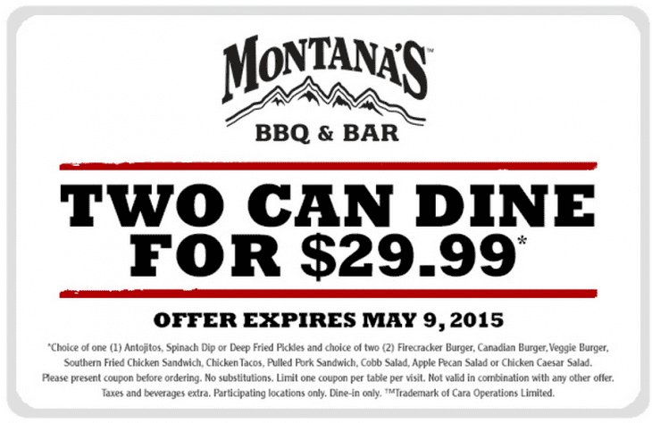 Montanas 730x474 Montanas BBQ & Bar Offers: Two Can Dine For Just $29.99!