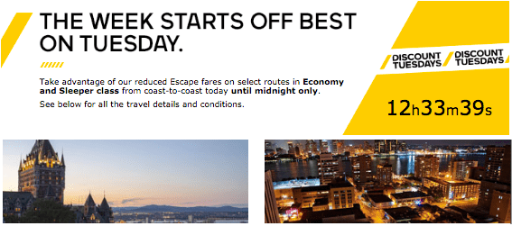 Via Rail VIA Rail Canada Special Offers: Discount Tuesdays, May 5, 2015