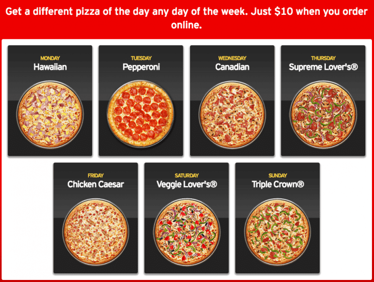 Pizza Hut Canada: buy 1 get 1 pizza for only $5 Buy 1 medium or large pizza, get the 2nd, 3rd and 4th for only $5. The site has been opened in a new tab or window for you to shop.