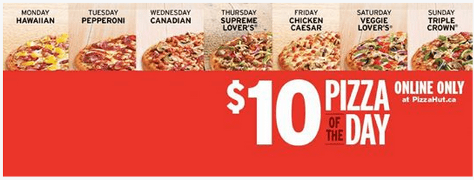 pizza hut online deals canada