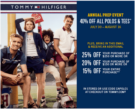 picture relating to Tommy Hilfiger Printable Coupon named Tommy discount codes canada / Wcco eating out promotions