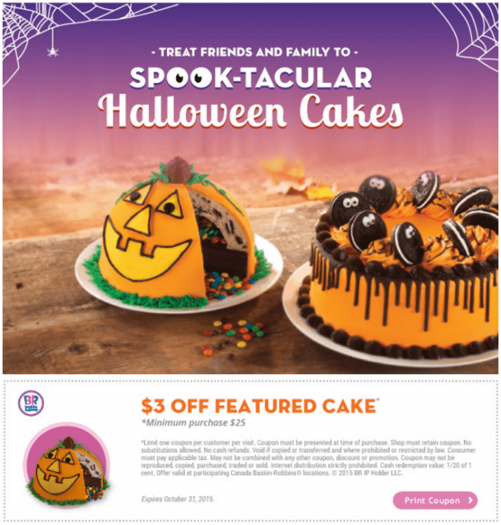 image relating to Baskin Robbins Printable Coupons identified as Baskin robbins cake discount codes april 2018 : Sprout organic and natural kid