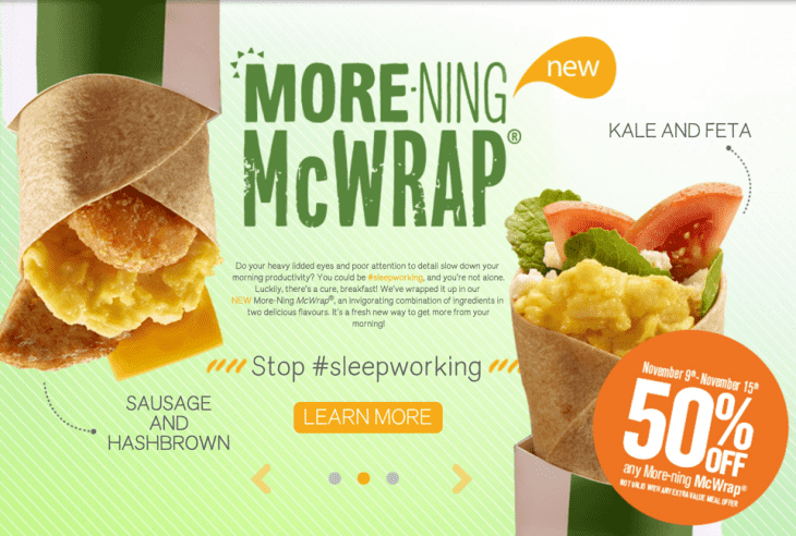 McDonalds Canada Promotions: Save 50% Off Any More-Ning McWraps