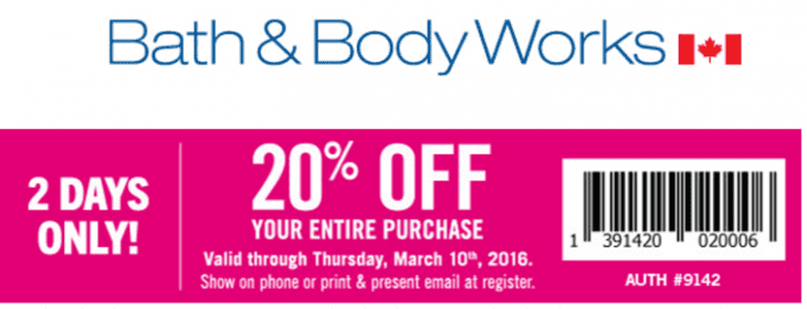 Bath & Body Works Canada SmartCanucks Coupon