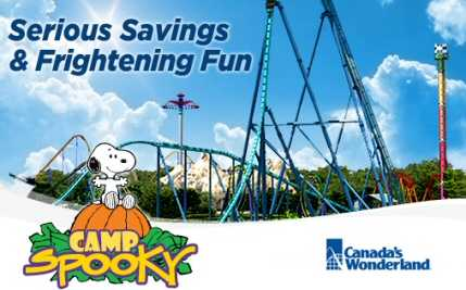 Half Price Off Day Pass To Canada's Wonderland, with a day pass to Camp Spooky