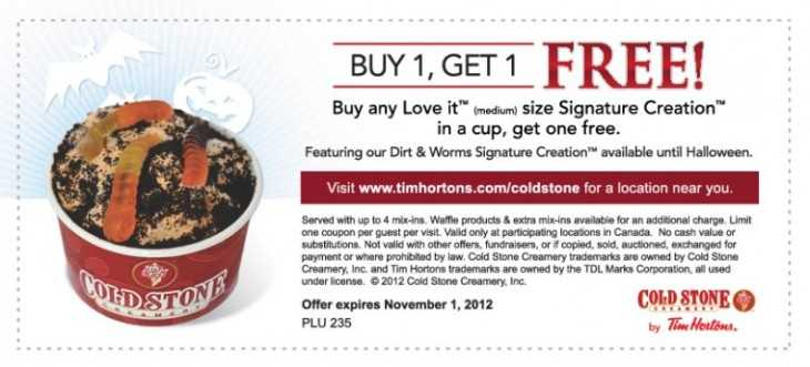 Tim Horton Cold Stone Creamery Coupon