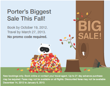 Porter Airlines Big sale