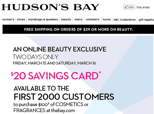 Hudson's Bay An Online Beauty Exclusive Offer, $20 Savings