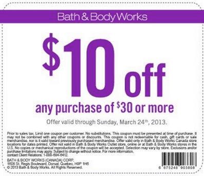Bath and body works $10 off $30 printable coupon