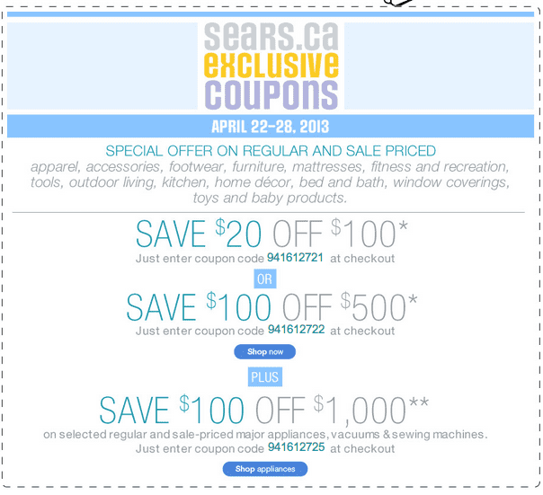 Nov 20,  · Get more discounts w/ new Sears Canada coupons. 63 Sears coupons, including 15 Sears coupon codes & 48 deals for December Make use of Sears promo codes & sales in to get extra savings on top of the great offers already on xfvpizckltjueoy.cf