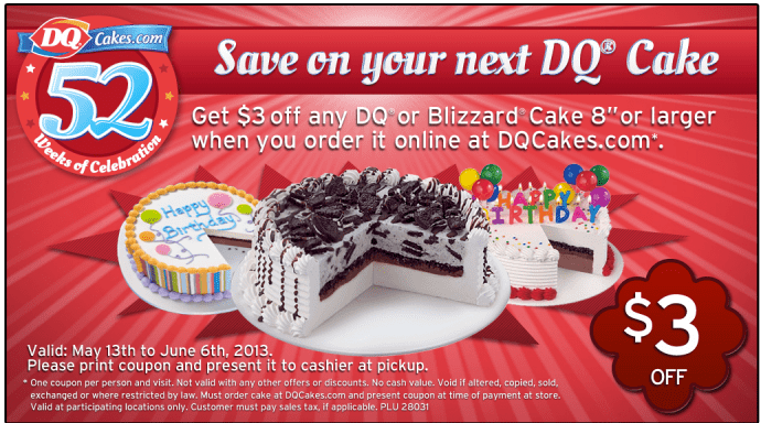 Dairy Queen Coupons Save 3 On Any Dq Cake Purchase