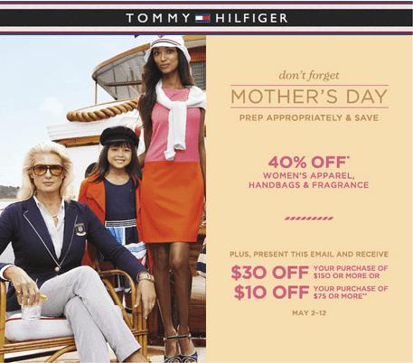 tommy hilfiger coupons for mother 39 s day save 40 on women 39 s apparel handbags fragrance 10. Black Bedroom Furniture Sets. Home Design Ideas