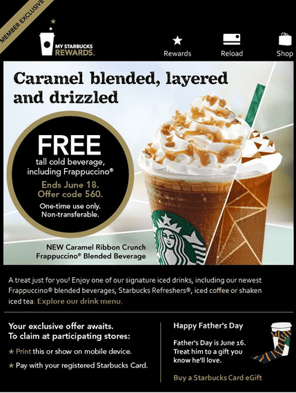 picture regarding Starbucks Printable Coupons named Starbucks Canada Printable Coupon codes: Absolutely free Tall Chilly Beverage
