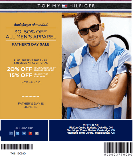 tommy hilfiger father s day coupons all men s apparel up to 50 off additional 20 hot. Black Bedroom Furniture Sets. Home Design Ideas