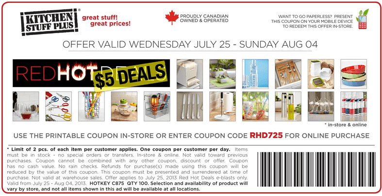 Kitchen stuff plus discount coupon