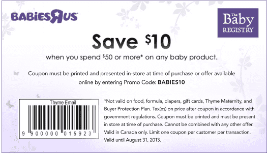 image regarding Baby R Us Coupons Printable named Infants R Us Canada Printable Discount codes: Preserve $10 Any time On your own