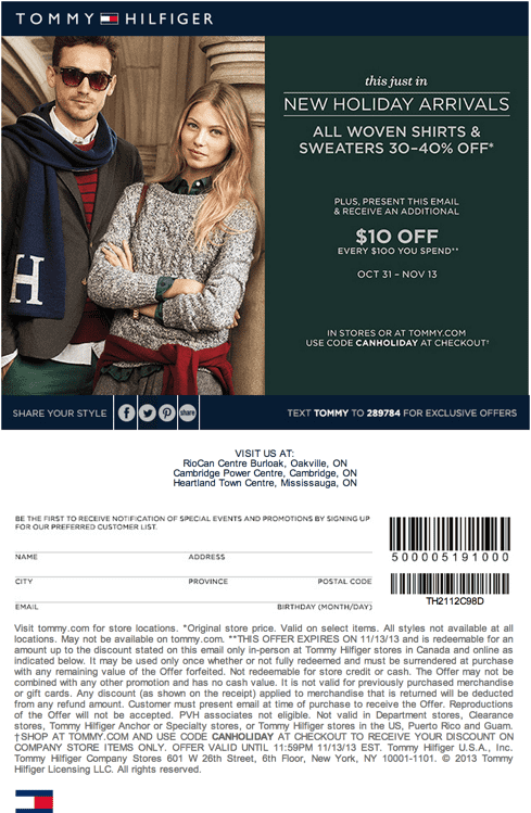 Tommy Hilfiger Canada Coupons & Promo Codes. Canadians can now enjoy online shopping of Tommy Hilfiger collections for men, women and children at giveback.cf Find below all of the latest promotional codes and discounts for Tommy Hilfiger's online store.