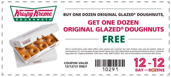 picture about Krispy Kreme Printable Coupon named Krispy Kreme Canada Printable Coupon codes: Purchase 1 Dozen Doughnuts