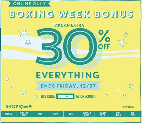 Old Navy Canada Boxing Week Bonus: Save an Extra 30% On ...