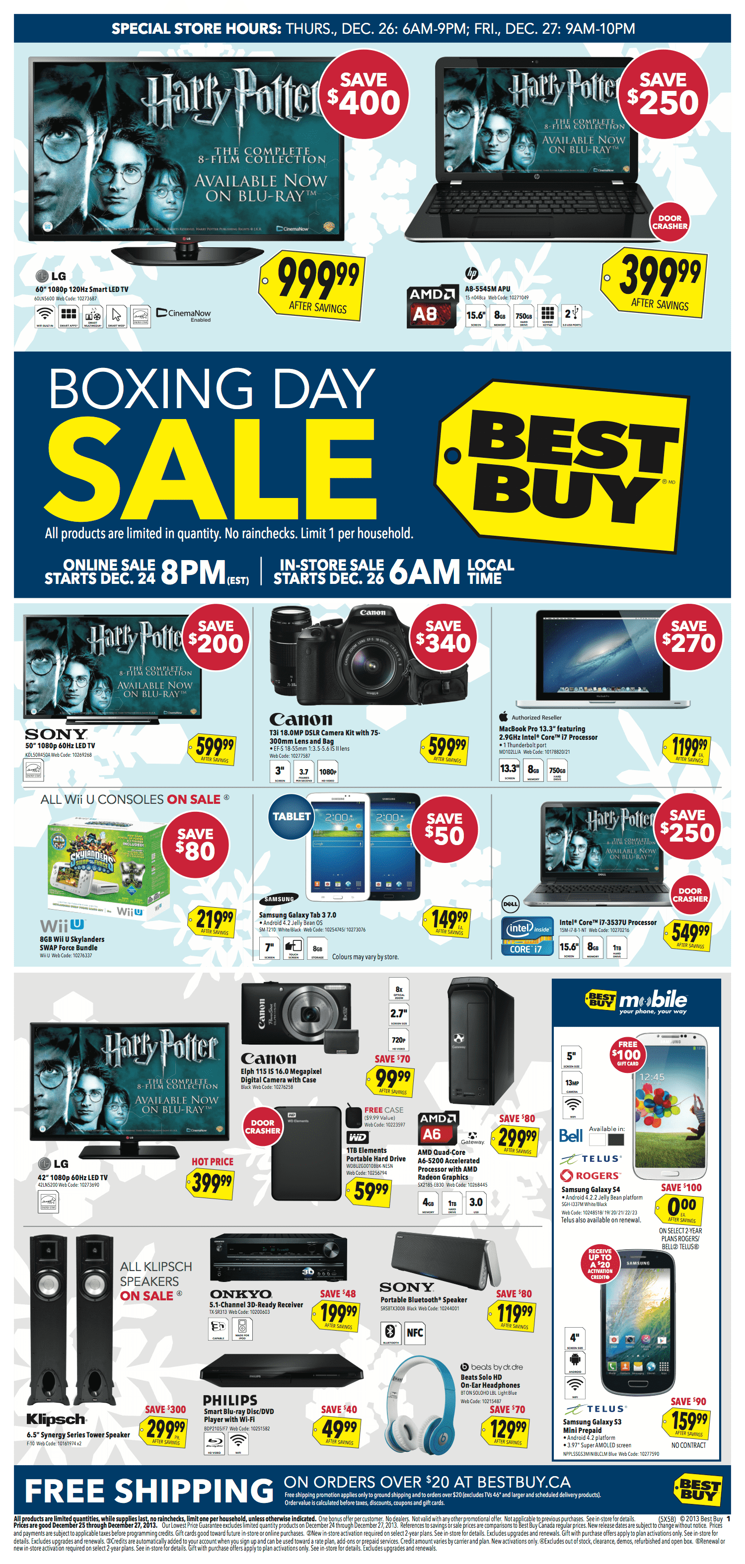 Here is a roundup of all the Boxing Day and Boxing Week flyers, deals and discounts available at Best Buy. Home to the widest range of electronics and electronic accessories to fit your every need, you can find great online and in-store deals.