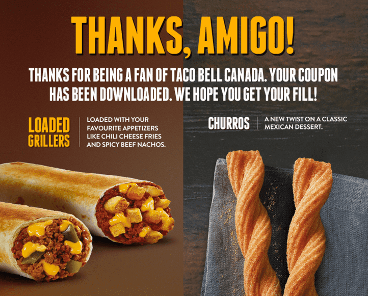 image about Taco Bell Printable Coupons identified as Taco Bell Canada Printable Discount codes: Absolutely free Rich Grillers or
