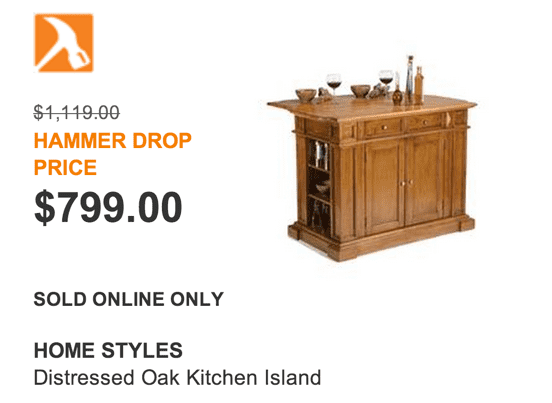 The Home Depot Canada Hammer Drop Deal Of The Day Get The Home Styles Distressed Oak Kitchen Island For Just 799 Hot Canada Deals Hot Canada Deals