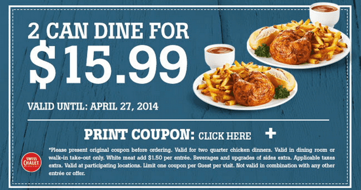 image regarding Sports Chalet Coupons in Store Printable named Swiss Chalet Canada Printable Discount coupons: 2 Can Dine For Only