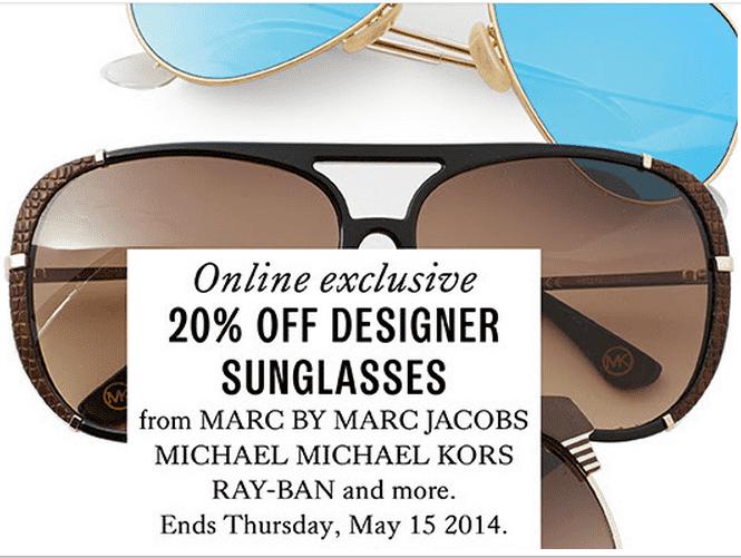 9e0414e699fd Hudson's Bay Canada Online Offers: Get 20% Off Designer Sunglasses ...
