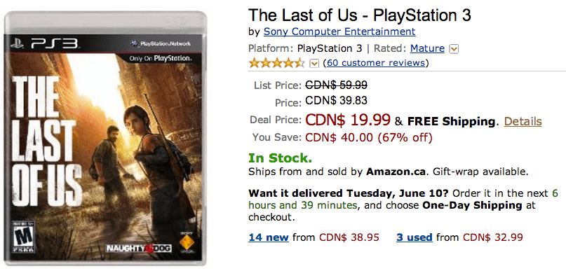 Amazon Canada offers: Save 67% On The Last of Us