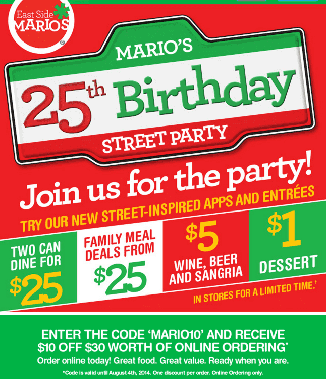 East Side Mario's Canada 25th Birthday Party Deals: Two