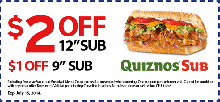 image relating to Quizno Printable Coupons identified as Quiznos Canada Printable Discounts Discount codes: Conserve $2 upon 12 Sub