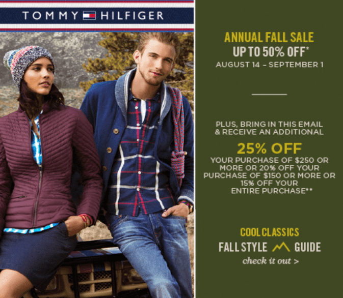 photo about Tommy Hilfiger Printable Coupon titled Tommy Hilfiger Canada Once-a-year Tumble Sale Furthermore Coupon: Conserve Up