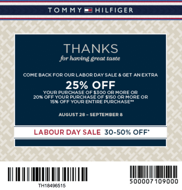 photo relating to Tommy Hilfiger Coupon Printable named Tommy Hilfiger Canada Labour Working day Sale: Sale Up towards 50% Off