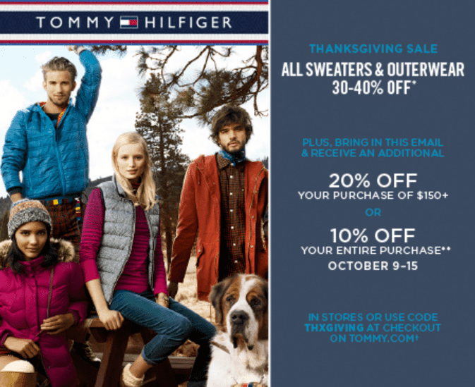 image about Tommy Hilfiger Printable Coupons identify Tommy Hilfiger Canada Thanksgiving Sale and Coupon: Conserve 30