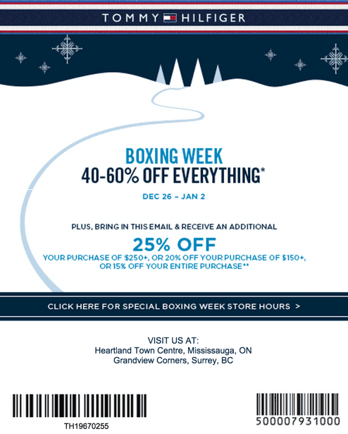 7a551d68 Tommy Hilfiger Canada Boxing Week/Day 2014 Sale: Save 40%-60% OFF ...