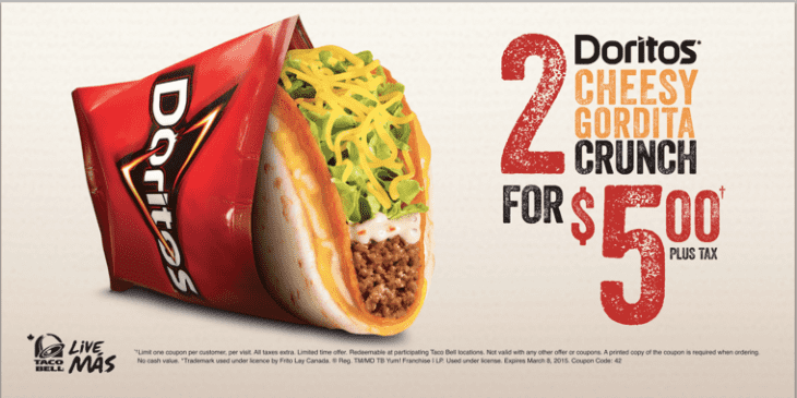 picture regarding Taco Bell Coupons Printable known as Taco Bell Canada Discount codes: Doritos Tacky Gordita Crunch 2