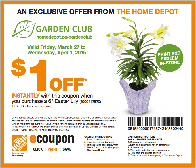 The Home Depot Garden Club Coupons Get 1 Off When You