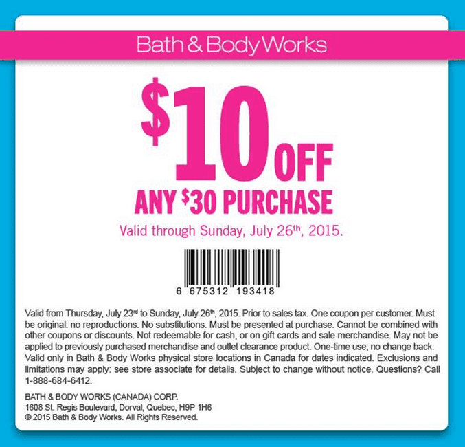 Bath Body Works Canada New Coupon Save 10 Off Any 30 Purchase More Deals Hot Canada